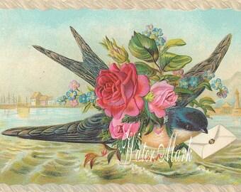 Quilt, Art Fabric Blocks,Bluebird with letter*Victorian*breathtaking*One 5x7*