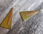 Triangle Earrings, Vintage Brass Triangle Charms with Copper Daggers, Geometric, Layered Metal Earrings