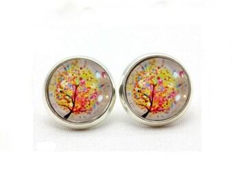 Glass Stud Earrings, Silver Stud Earrings, Handmade Jewelry, Cute Earrings, Silver Post Earrings, Nature Jewelry, Stud Earrings