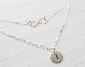 Infinity Necklace in Silver - Personalized Initial Necklace Set Two Strand Necklaces Layered Initial Necklace Silver Layering Necklace