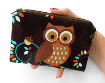 Happy Owl Zipper Pouch Little Coin purse ECO Friendly Padded NEW