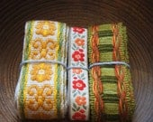 Selection of four yards of vintage woven fabric trims Pack A