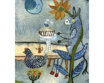 3 Art Cards of Dinner Celebration