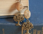 Brown Coral and Tree of Life Earrings