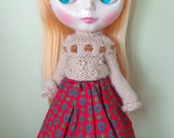 vintage handmade skirt for blythe tiny flowers