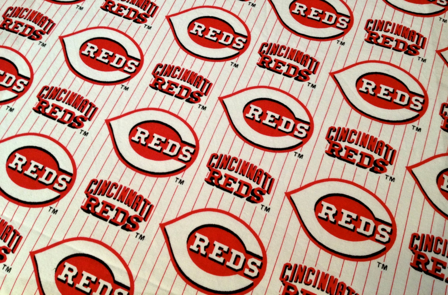 Cincinnati Reds Baseball Logo Fabric Rare Out Of Print Very