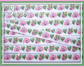 "SALE SPRB 3/8"" Strawberries & Cream Best Buds GLITTER Grosgrain Ribbon-5 yards-Hot Pink Apple Green Hearts"