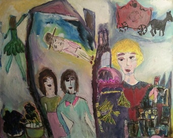 """Original painting, """"Dreams"""", acrylic on canvas, colorful, Chagall-like, whimsical"""