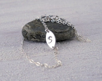 Sideways Initial Necklace - Personalized Initial Sideways Necklace, Sterling Silver Initial Necklace