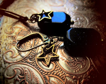 MIDNIGHT earrings blue goldstone and brass star