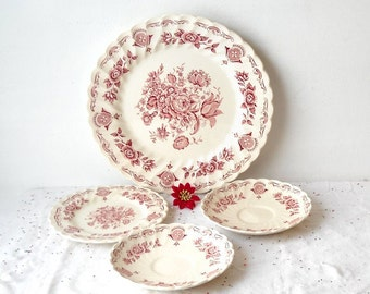 Vintage Mismatched China Plates, Myotts Pink Bouquet, 4 Pieces Red Transferware Staffordshire England, Victorian Cottage Kitchen Wall Decor