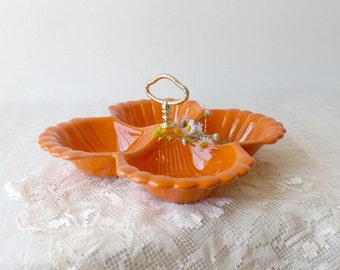 California Pottery Tray, Vintage Orange Serving Tray with Handle, Mid Century Snack Dish, Retro Kitchen Decor