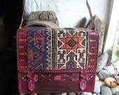 Carpet bag  satchel with antique Beluch rug