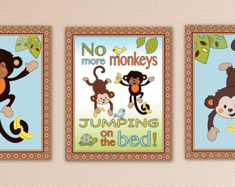 Set of 3 monkeys jumping on the bed prints. M2M curly tails