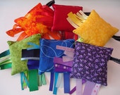 Rainbow ribbon tag toy, sensory bean bags, rainbow coloured bean bag lot of 6. sensory sacks, rainbow sensory bean bags, ribbon tag toy RTS