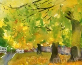 ORIGINAL Watercolor landscape painting of Yellow Trees in a fall scene | country decor