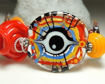 EYE LOVE YOU Handmade Lampwork Bead Bracelet