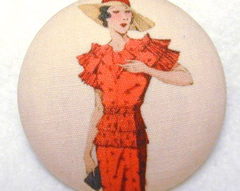 Vintage Fashion - Hand Printed Fabric Covered Button 1 and 1/2 inch Diameter FASFAB 17