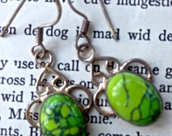 Sterling and turquoise earrings      drop earrings, pierced   green and silver  gift for her