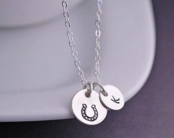 Horse Memorial Necklace, Personalized Horseshoe Jewelry,  Horse Lover Gift,  Equestrian Gift