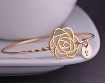Gold Rose Bracelet, Rose Jewelry, Personalized Flower Bracelet