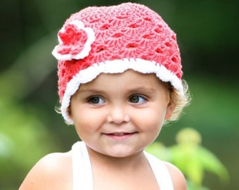 Toddler Girl Hat - Knit Toddler Hat With Flower - Knit Toddler Hat