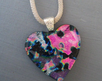 Pink and Purple Glass Heart Pendant, Heart Pendant, Dichroic Heart Pendant, Fused Glass Heart Pendant - Pink and Purple Heart Necklace