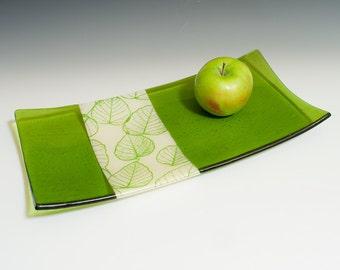 Leaves glass serving platter