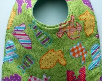 Easter Spring Bunny Rabbits on Green Baby Bib