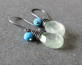 Prehnite Earrings Turquoise Earrings Mint Green Earrings Oxidized Sterling Silver Earrings