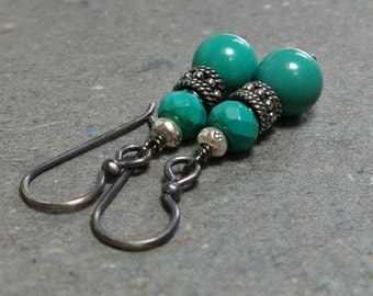 Turquoise Earrings Oxidized Sterling Silver Earrings Dangle Earrings