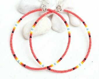 coral seed bead hoop earrings