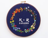 all year round - pdf embroidery pattern, custom initials and date, floral border, four seasons, wedding gift, ring bearer, anniversary gift