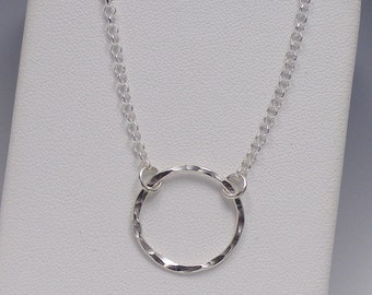 Sterling Silver Circle Necklace, Eternity Karma Circle Necklace