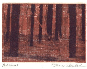 Red Woods etching with chine colle