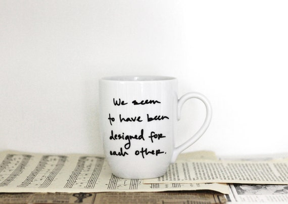 designed for each other - Pride and Prejudice mug - Jane Austen
