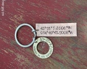 latitude longitude keychain in copper with brass washer/custom hand stamped coordinates/great anniversary gift