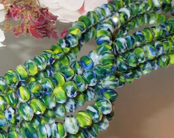 20 Blue Swirl Facet Glass Rondell- 5x7mm- Bastet's Beads