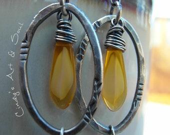 Colorful Hoops Hoop Earrings Rustic Leaf Earrings Silver Hoop Earrings