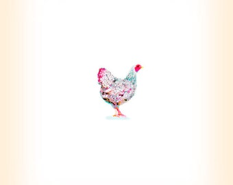 Chicken Hen Chicken Print - Farm Animal Art - Chicken Art -