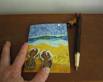 Illustrated blank card, As Far as the Eye can see, beach summer ocean waves, flip flops,glossy finish
