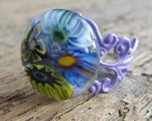 Fused Glass Millefiori Cocktail Ring Adjustable Filigree, Bohemian Hippy Jewelry