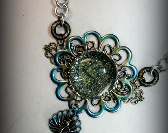 Glass Pendant Necklace, Peacock Pendant, Mixed Metal Necklace, Filigree, Fantasy Necklace