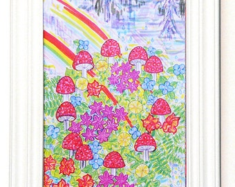 Greeting Card, Mushroom, Magical, Cosmic, Rainbow, Forest, Psychedelic, Nature, Flower, Fairy Circle, Amanita Muscaria, Shaman, Unity, Sky