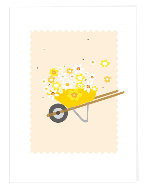 Greeting Card flower filled wheelbarrow daffodils and narcissus blooms