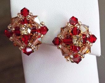 Vintage Styled Bridal Party Clip On Earrings, Red and Gold Earrings, Crystal Bridal Clip On Earrings, Swarovski Crystal Non-Pierced Earrings