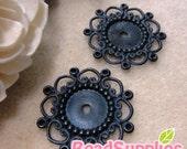 FG-FG-09366- Nickel Free, lead free , black enameled, flower filigree cab setter, 8 pcs