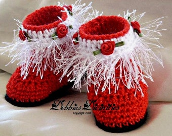 Baby Bootie Crochet Pattern - Holiday