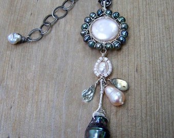 Freshwater  Pearl,black necklace