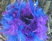 "8"" Flower Girl Feather Petal Basket Ball, chandelle feathers, bi color, dyed tips, alternative basket, wedding"